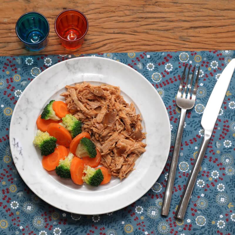 Pulled pork + Brócolis com cenoura