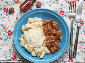 Pulled pork + nhoque de batata + molho bechamel