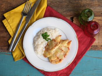 Frango parmegiana ao forno + arroz branco