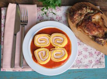 Sobrecoxa grelhada + rondelli presunto e queijo + molho sugo