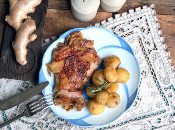 Sobrecoxa ao curry + batata ao alecrim