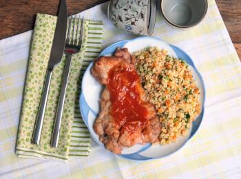 Sobrecoxa agridoce + couscous marroquino