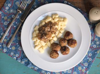 Polpette + Nhoque de batata + molho funghi