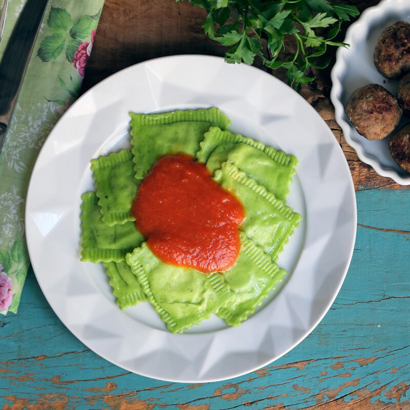 Polpette-ravioli verde-sugo