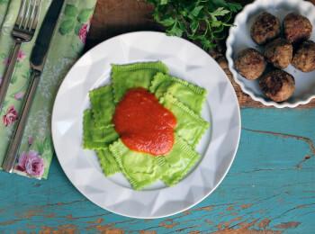 Polpette + ravioli verde + molho sugo