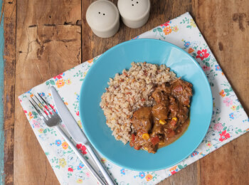 Picadinho + arroz 7 grãos